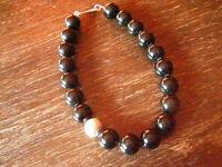 riesige schwarze Edelstein Kugeln Kugel Collier 2 cm schwarz 925 Silber Element