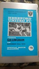 Hereford United V Gillingham 1974 Match Programme