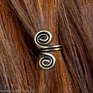 2 Spiral Antiqued Brass Viking Hair Beads Beard Jewelry Dreadlock Hair Accessory