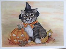 Adorable Halloween Art Tabby Cat w/ Witch Hat and Pumpkin Artist Signed