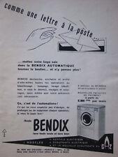 PUBLICITÉ DE PRESSE 1955 MACHINE A LAVER BENDIX CHAUFFANT A GAZ - ADVERTISING