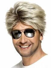 Men's 80's Street Blonde George Michael Wham Wig & Glasses Fancy Dress Costume