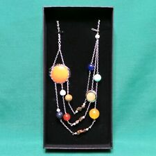 Solar System Planetary Orbit Necklace NIB Brass Plated & Stones