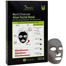 5 Days Black Charcoal Aloe Facial Mask Skin Elasticity Pores Moisture (5 Sheets)