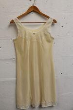 Vintage 1960's Slip Dress LINGERIE Cream Nylon Lace Size 12 uk Rose Bud Retro