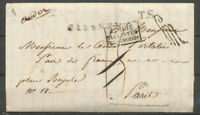 """1821 Lettre en Franchise de Florence Italie taxée puis  """"à Détaxer"""" P5186"""