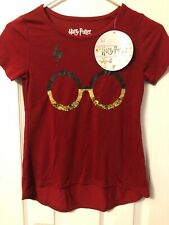 NWT Harry Potter Girl's Short Sleeve Graphic Tee, Burgundy, Size S(7/8)