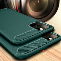 Carbon Fiber Slim Soft TPU Silicone Cover Case For iPhone 11 Pro Max XR 6s X 7 5