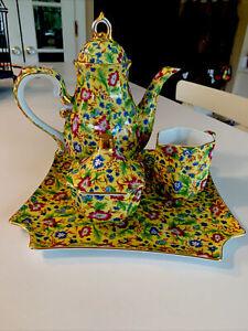 Two's Company Chintz Six Piece Tea Set Yellow Pattern