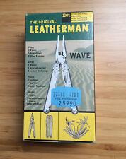 Leatherman Wave Multitool con originali lederholster, imballaggio e istruzioni