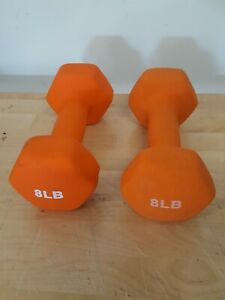 8 LB pound Dumbbells Hex Neoprene CAP Hand Weights Pair (2) Set 16LB TOTAL