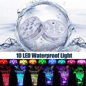 10 LED RGB Submersible Light Christmas Lamp Waterproof Remote Control Vase Light