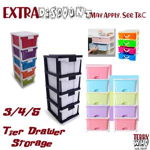 3 4 5 Tier Drawer Storage Organiser Plastic level Office Box Cabinet Coloured