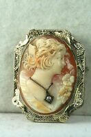 1920'S ANTIQUE 14K WHITE GOLD DIAMOND HABILLE CAMEO PIN PENDANT FOR A NECKLACE