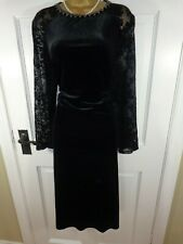 Monsoon Black Velvet Jewelled Special Occasion Lined Dress, UK 22, Exc Condition