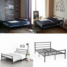 Modern Metal Bed Frame Black White Silver 3ft Single 4ft6 Double Bed Frames