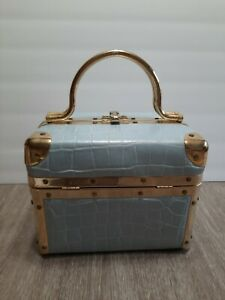 Vintage Lisette New York Light Blue Embossed Box Purse