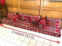 3 meters Hand made ARABIC floor SEATING  wide مراكي جلسة عربية Eid Mobarek