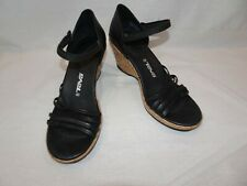 TEVA Riviera Black Leather Wedge Cork Sandals Strappy Size 7.5 Heels 1002021
