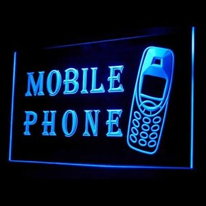 190028 Mobile Phone Services Repairs Instant Display OPEN Neon Sign