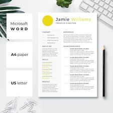 Creative Resume Template | CV Template | Cover Letter | Yellow Circle