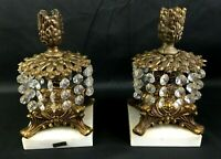 Antique Hollywood Regency Brass Italian Marble Candleholders With Prisms ITALY