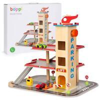 Boppi Bois Jouet Garage Parking Avec 12 Pièces Inc 2 Cars & Hélicoptère Et Lift