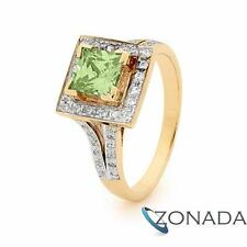 Classic Aqua Green Cubic Zirconia 6x6 Sqczag Wedding 9ct 9k Yellow Gold Ring