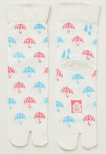 NEW Japanese Unisex Split Toe Tabi Socks Pink & Blue Umbrellas Made in Japan