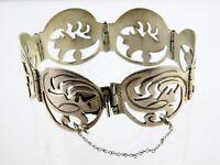 Vintage Mexican Sterling Silver Panel Bracelet 925 Mexico Glyph Geometric Motif