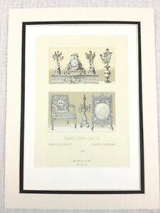 1888 Antique Print Palace of Versailles French Furniture Candlesticks Louis XVI