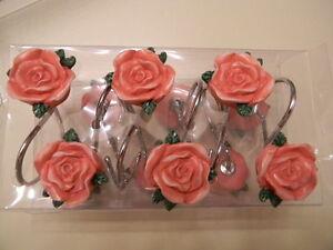 CREATIVE BATH 12 Shower Curtain Hooks Floral Rose Sabby Chic Roses - NIB