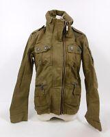 Superdry Mandarin Army Jacket v.10 Brown Vintage Multi-Pocket Coat UK 10 H3 SB3