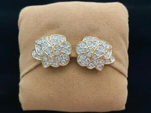 Nolan Miller Pave Rhinestone Free-form Gold Tone Clip Earrings