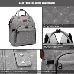 Mummy Changing Bag Baby Diaper Nappy Backpack Multi-Function Bag Polka Dot Grey