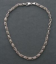 "CHUNKY SILVER NECKLACE 18"" SOLID 925 STERLING CAGE LINKS"