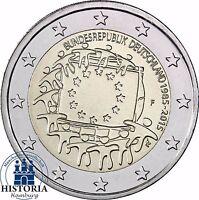 Deutschland 2 Euro 30 Jahre Europa Flagge 2015 Prägefrisch Münzzeichen F