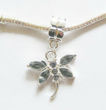 Silver Plated Dragonfly Dangle Charm - Grey Rhinestones - for Charm Bracelets