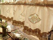 Shabby Cottage Chic Farmhouse Rustic Burlap Window Valance HAND Crochet Ruffled!