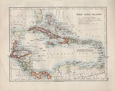 1909 VICTORIAN MAP ~ WEST INDIA ISLANDS ~ CUBA BAHAMA HAITI PORTO RICO JAMAICA