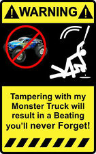 """4"""" Warning Tampering with Rc Monster Truck  Decal Sticker heli stunt 1/4 1/10"""