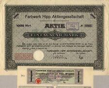 Hipp fornitele AG-Colonia-azione oltre 1.000 Marchi, settembre 1921-con cedole!