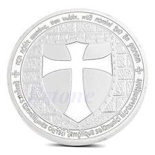 Knights Templar Europe Silver Plated Cross Token Souvenir White Coin Collection