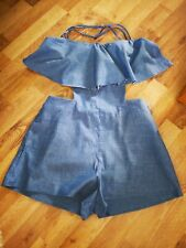 Womens Zara Size M UK 10 Denim Playsuit shorts Beautiful Details Summer holiday