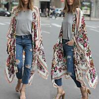 Women Chiffon Kimono Cardigan Floral Asymmetric Boho Loose Outerwear Summer
