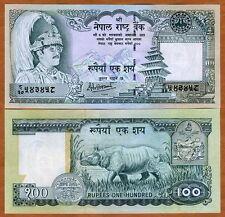 Nepal, 100 Rupees, ND (2001), P-34 (34d), Sign. 14 UNC > King Birendra, Rhino