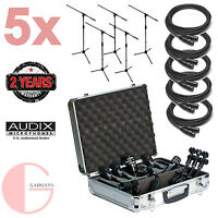 Audix DP5A 5PC Drum Mic Package w/ 5PC XLR Cable and 5PC Mic Stand Bundle