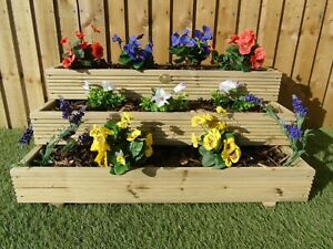 3 Tier Triple Layer Stepped Tiered Wooden Timber Decking Garden Planter Trough