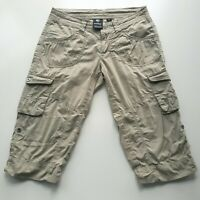 Kuhl Womens Size 2 Khaki Roll Up Cropped Capris Hiking Pants Tan Cargo Pockets