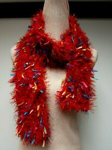 Red Chenille Fuzzy Knit 3 1/2 x 64 Long Scarf Ribbons Yellow Blue Pink Purple EU